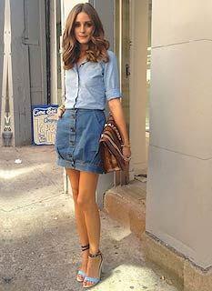2デニムシャツ×デニムタイトスカート×ヒールサンダル