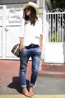 7白のシャツ×デニム×ハット