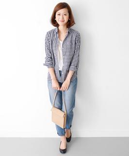 8ギンガムチェックシャツ×白シャツ×デニム