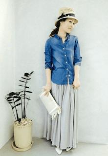 10春、ロング・マキシ丈スカート×デニムシャツ