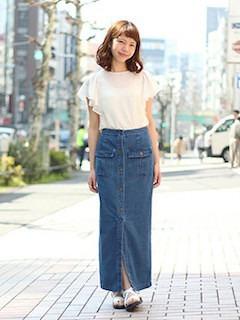 5春ロングマキシ丈スカート×白シフォントップス