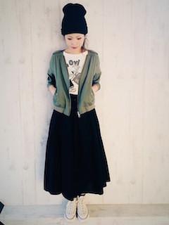 7黒ロングスカート×モッズブルゾン