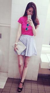 夏ポロシャツ×ミニバルーンスカート