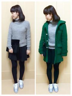 7緑のダッフルコート×ニットセーター×ミニスカート