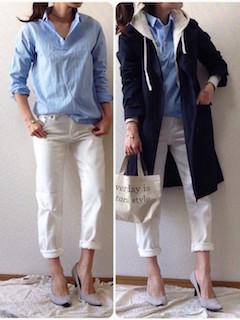 6ユニクロスプリングコート×青シャツ×白デニムパンツ
