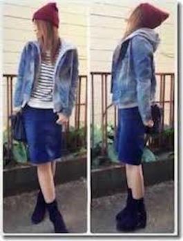デニムジャケット・Gジャン×青スカート×ブーツ