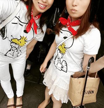 1スヌーピーTシャツ×バンダナ×ユニバ双子コーデ