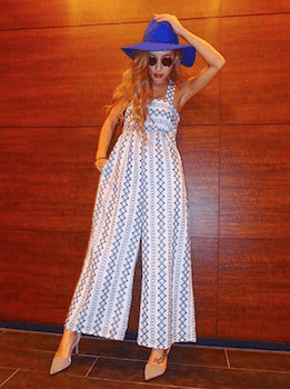 1マキシガウチョサロペット×ハット×リゾートファッションコーデ