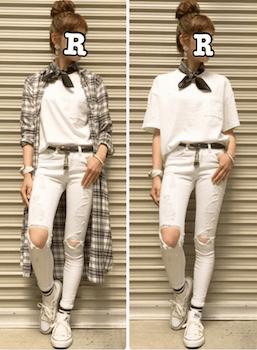 8白のスキニーパンツ×ロングチェック柄シャツ×Tシャツ