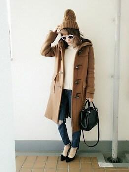 ニット帽×ダッフルコート×ジーンズ