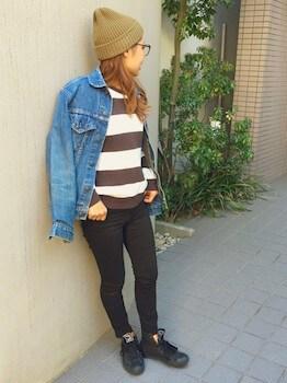ニット帽×ボーダーTシャツ×Gジャン