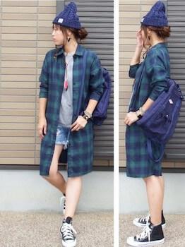 ニット帽×ロングシャツ×ショートパンツ