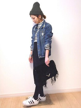 ニット帽×Gジャン×タイトスカート