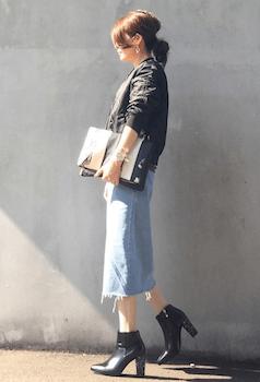 ブーツチャンキーヒール×MA1×デニムタイトスカート