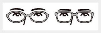 丸メガネの選び方1 眉毛が見える丁度良い位置のサイズを選ぶ