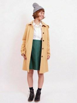 ショップコート×白ブラウス×タイトスカート