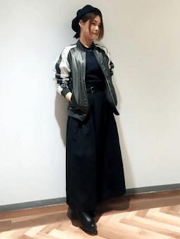 モックネック×スカジャン×マキシスカート