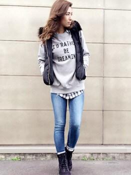 黒のダウンベスト×スエット×チェックシャツ×デニムパンツ