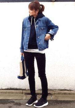 デニムジャケット・Gジャンとパーカーの重ね着のコツ1色