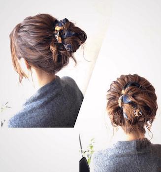 編み込みお団子のスカーフのヘアアレンジ