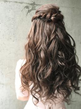 ロングのクラウンウェーブの髪型