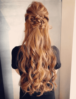 ロングの編み込みハーフアップの髪型
