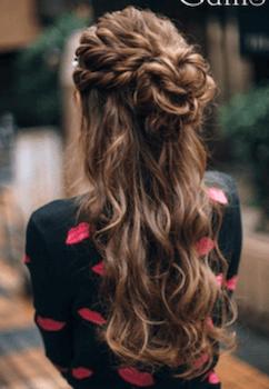 入学式でスーツに合うロングの髪型で編み込みボリュームフラワーの髪型