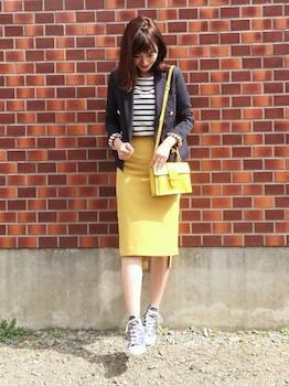 ジャケット×ボーダーTシャツ×タイトスカート