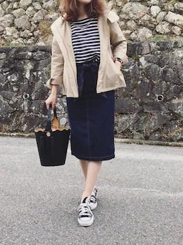 GUのジャケット×ボーダーTシャツ×デニムスカート