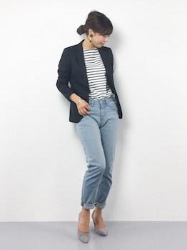 ジャケット×ボーダーTシャツ×ジーンズ