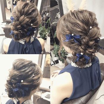 結婚式で人気のミディアムのリボン&アップの髪型