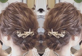 結婚式で人気のボブの髪型9:編み込み団子