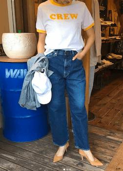 8リンガーTシャツ×ジーンズ×ハイヒール