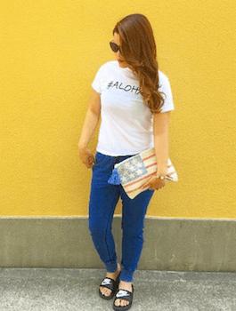 1アビスカラー×クロップドパンツ×Tシャツ