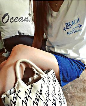 2アビスカラー×デニムショートパンツ×胸ポケットTシャツ