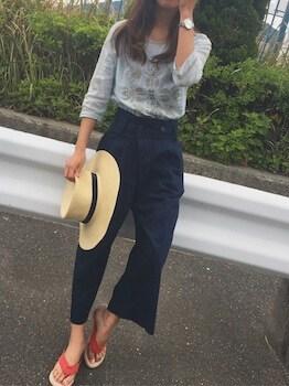 アイランドスリッパ×七分袖Tシャツ×ガウチョパンツ