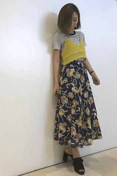 11リンガーTシャツ×レースキャミ×フレアロングスカート