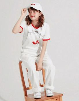 10リンガーTシャツ×オーバーオール×キャップ