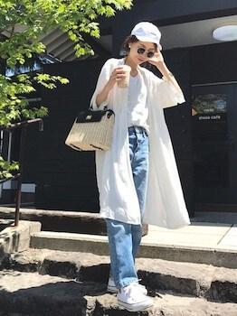 14サマーガウン×白Tシャツ×ジーンズ