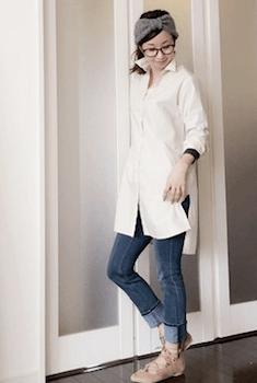 伊達メガネが合うレディースの服装3:シャツワンピース