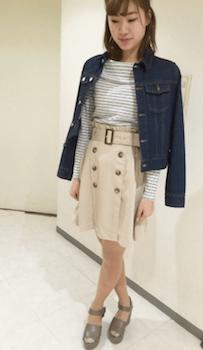 Gジャン×トレンチスカートの着こなし方