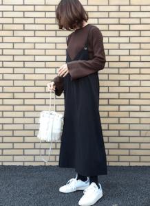 サロペットスカート×カットソー