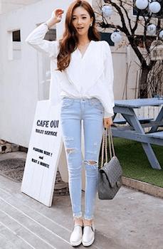 韓国ファッション×ダメージジーンズの着こなし方