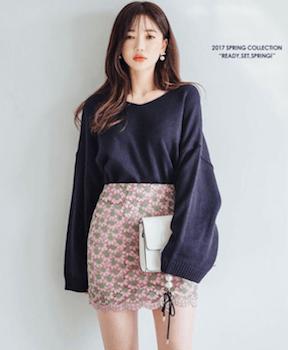 韓国ファッション:ビックニットの着こなし方