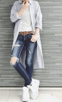 ダメージジーンズ×パジャマシャツのレディースコーデ