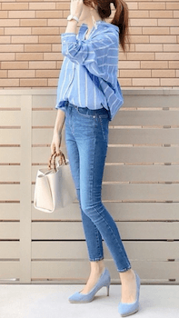 オーバーシャツ×スキニーデニムパンツのレディースのコーデ(春夏編)