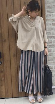 オーバーシャツ×ストライプ柄スカートのレディースのコーデ(春夏編)
