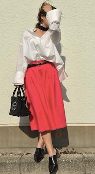 オーバーシャツ×フレアスカートのレディースのコーデ(春夏編)
