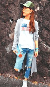 ロングカーディガン×国旗Tシャツ