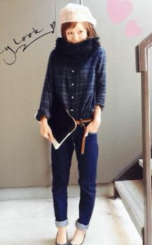 チェックシャツ×デニムパンツ×スヌード×ファー帽子のレディースのコーデ